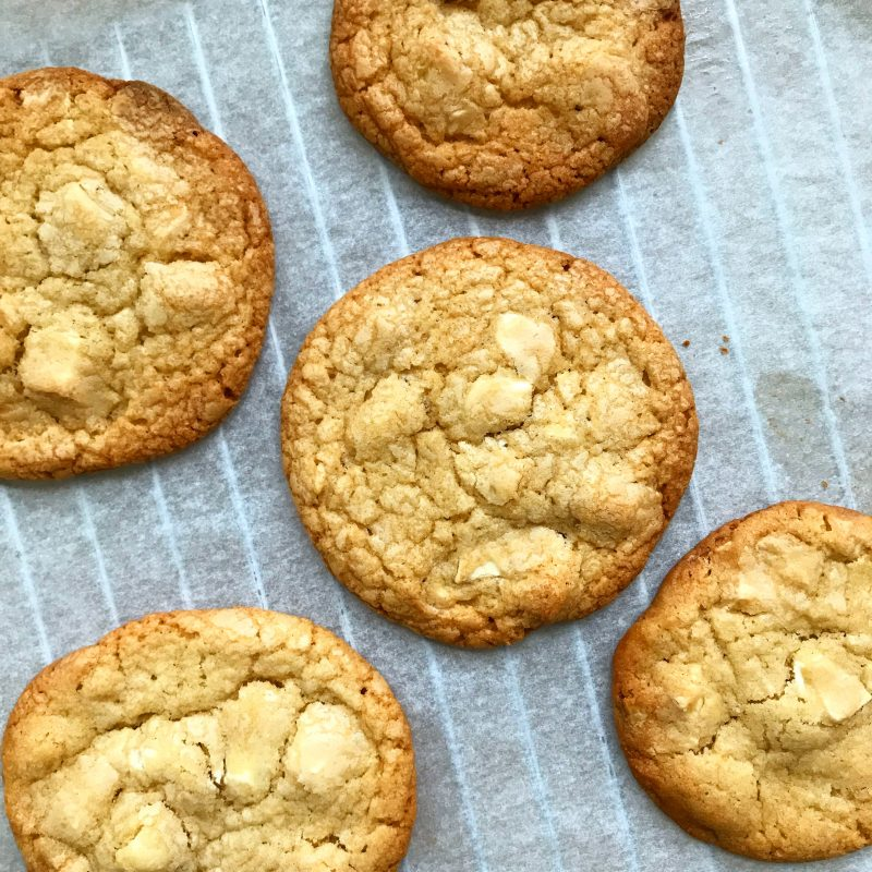 White chocolate chip macademia nut cookies